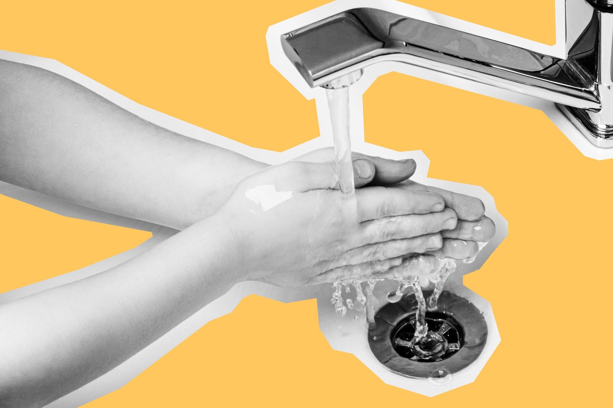 Boy washing his hands. Papercut design